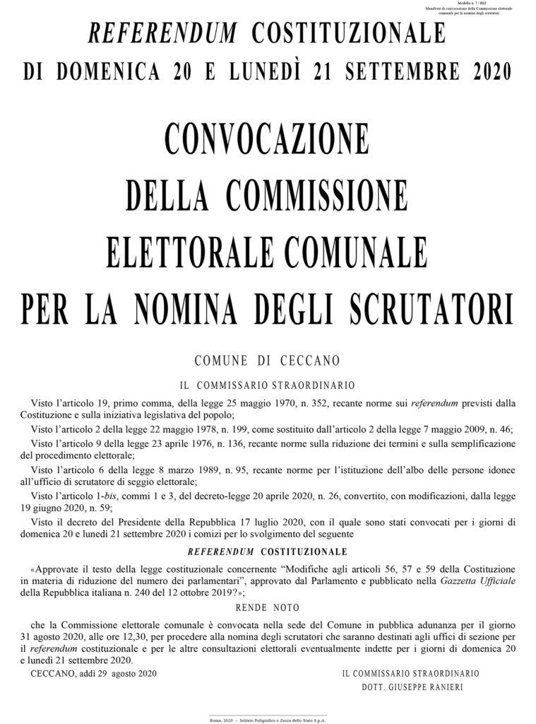CONVOCAZIONE DELLA COMMISSIONE ELETTORALE COMUNALE PER LA NOMINA DEGLI SCRUTATORI – Elezioni 20 – 21 Sett 2020