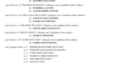 Elezioni Amministrative 2020 – Manifesto Candidati Eletti