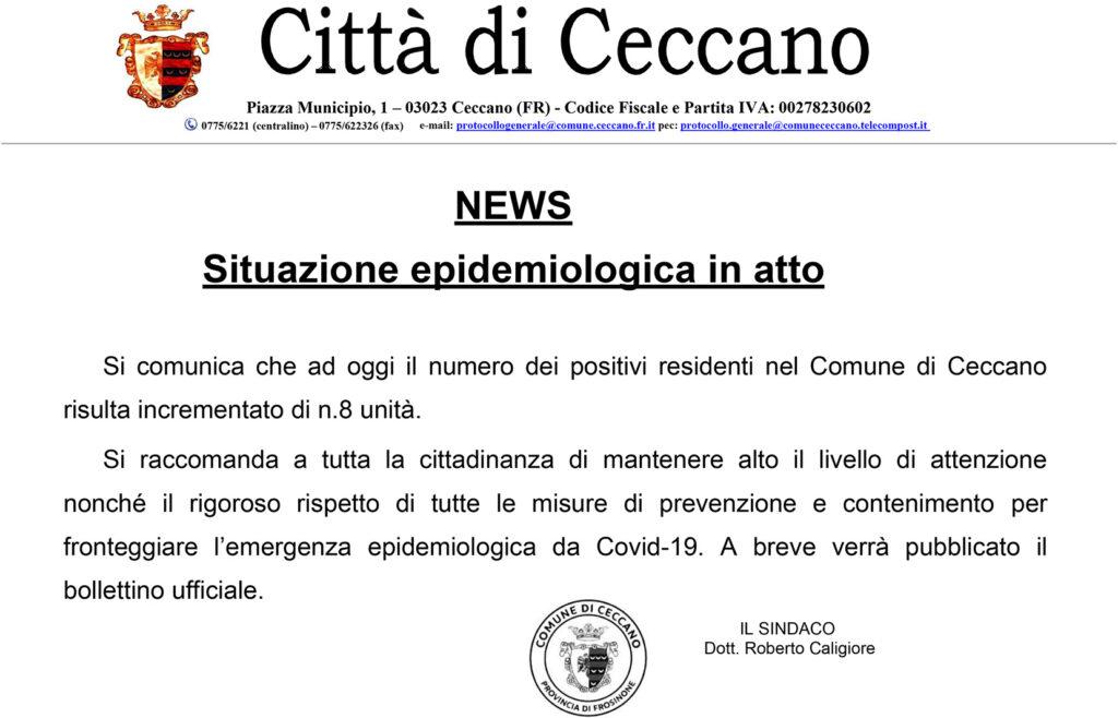 NEWS – Situazione epidemiologica in atto