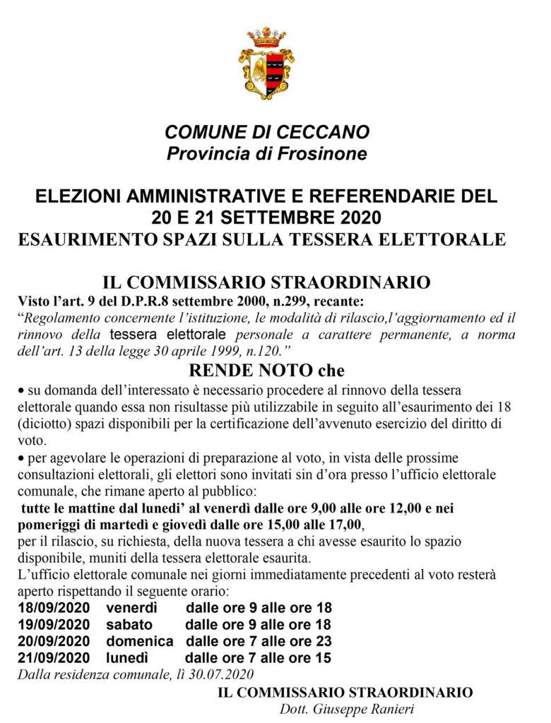 Elezioni del 20 e 21 Sett. 2020 – Apertura Ufficio Elettorale – Rinnovo Tessere Elettorali