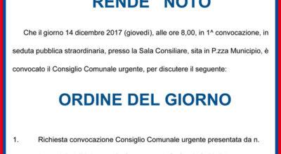 Convocazione Consiglio Comunale del 14 dic 2017