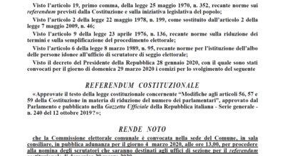 Nomina scrutatori per il Referendum Costituzionale del 29 marzo 2020